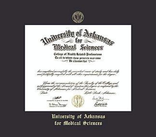 university of arkansas for medical sciences diploma measures 14h x 17w frame with black mat and gold embossing approximate frame size 21 x 24 inches