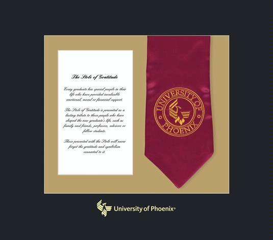 Custom diploma frames certificate frames framing success uop university of phoenix stole of gratitude 1010 to present frame with black and gold double mat and gold embossing approximate frame size 15 x 17 inches filmwisefo