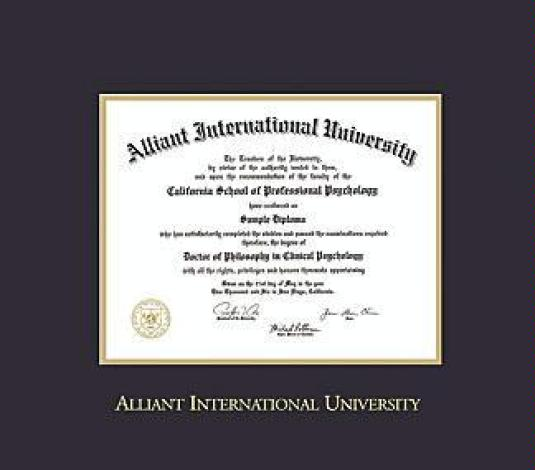alliant international university diploma bama 102 to present frame with black and gold double mat and gold embossing approximate frame size 17 x 19 - Diploma Frame Size