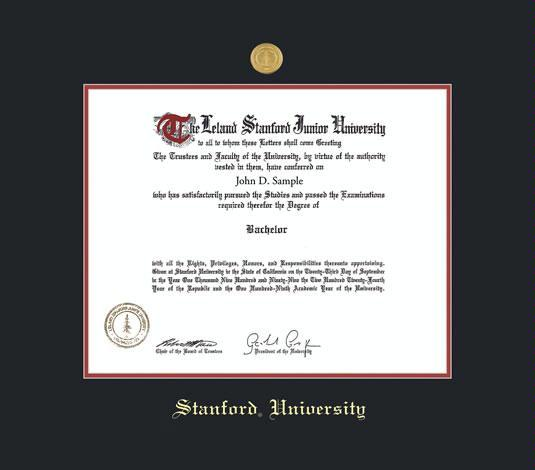 stanford university diploma frame with medallion and black and red double mat and gold embossing approximate frame size 17 x 19 inches - Diploma Frame Size