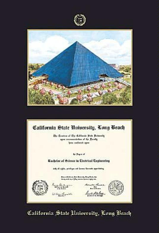 california state university long beach diploma and pyramid lithograph frame with black and gold double mat and gold embossing - Dual Diploma Frame