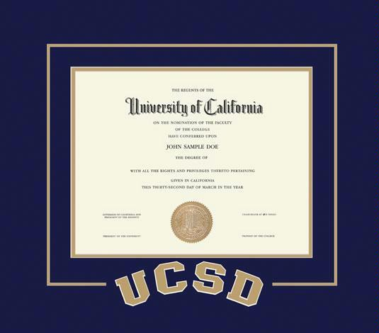 Custom diploma frames certificate frames framing success ucsd university of california san diego diploma with arched letter cut out frame with navy blue and gold double mat and no embossing spiritdancerdesigns Images