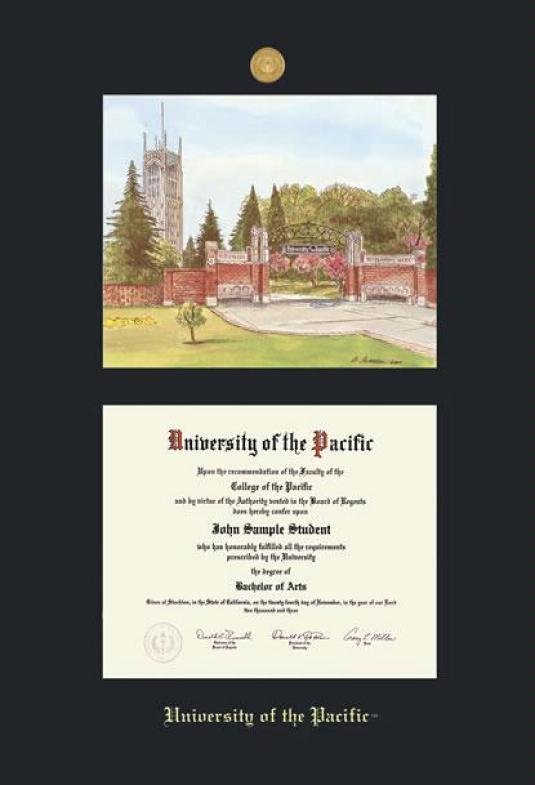 Custom Diploma Frames Certificate Frames Framing Success U Of The Pacific Dip Litho W Mdl Black Mat