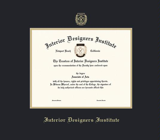Interior Designs Institute Diploma Frame With Black And Gold Double Mat Embossing Approximate Size 17 X 19 Inches