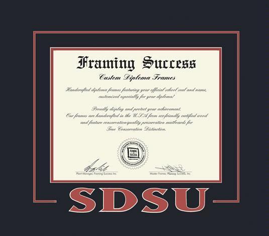 Custom diploma frames certificate frames framing success sdsu approximate frame size 17 x 19 inches spiritdancerdesigns Images
