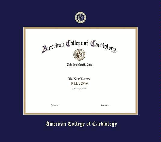 american college of cardiology certificate frame with navy blue and gold double mat and gold embossing approximate frame size 15 x 17 inches