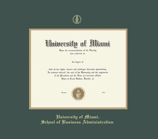 custom diploma frames certificate frames framing success u  university of miami diploma mba 5 03 to present frame green and gold double mat and gold embossing approximate frame size 19 x 22 inches