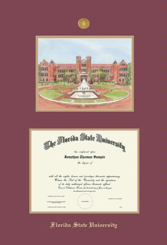 florida state university diploma ba pre 1203 and lithograph frame with medallion and maroon and gold double mat and gold embossing