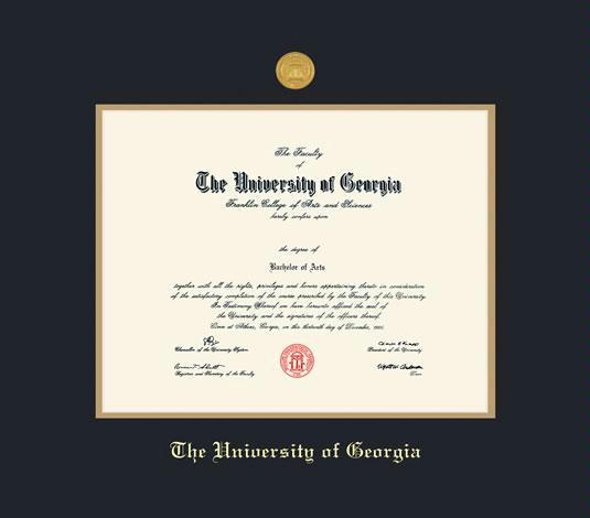 the university of georgia diploma frame with medallion and fsc onyx and fsc wheat double mat and gold embossing approximate frame size 19 x 22 inches