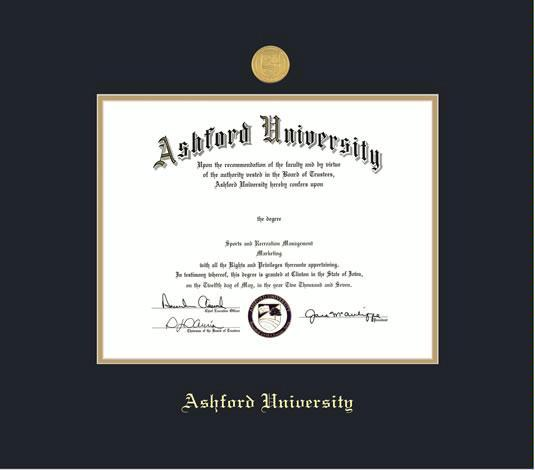 Custom Diploma Frames Certificate Frames Framing Success Ashford University Frame With Medallion And Black Gold