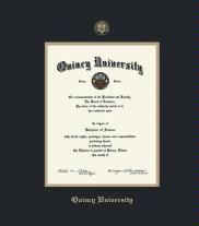 quincy university diploma frame with black and gold double mat and gold embossing approximate frame size 17 x 14 inches framing success