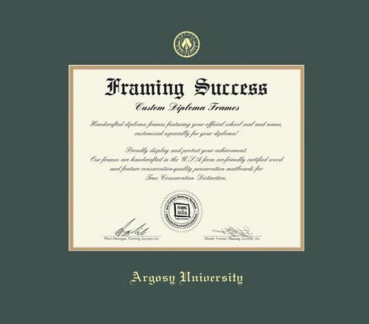 Custom Diploma Frames Certificate Frames Framing Success Argosy University Diploma Ma With Green Gold Mat