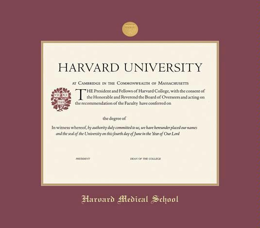 Harvard University Certificate   CME Medical Frame With Medallion, Maroon  And Gold Double Mat, And Gold Embossing (Approximate Frame Size 17 X 19  Inches)