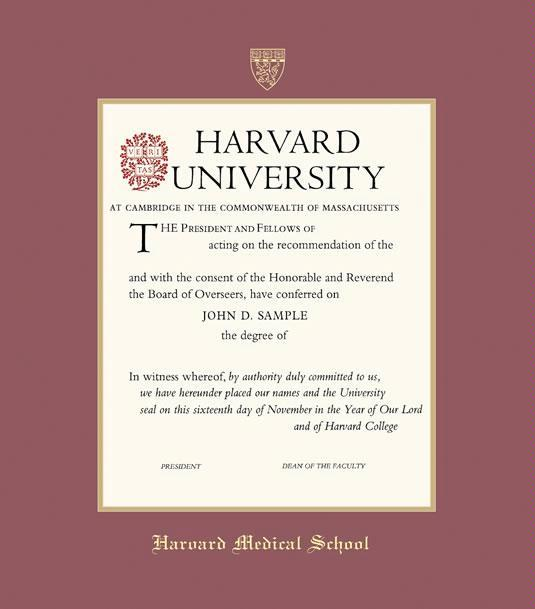 Harvard University Medical School Diploma Frame With Maroon And Gold Double  Mat And Gold Embossing (Approximate Frame Size 19 X 22 Inches)