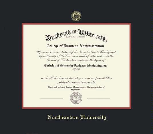 northeastern university diploma frame with black and red double mat and gold embossing approximate frame size 19 x 22 inches - Diploma Frame Size