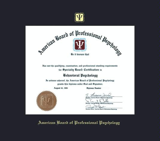 american board of professional psychology certificate 702 to present frame with black mat and gold embossing approximate frame size 17 x 19 inches