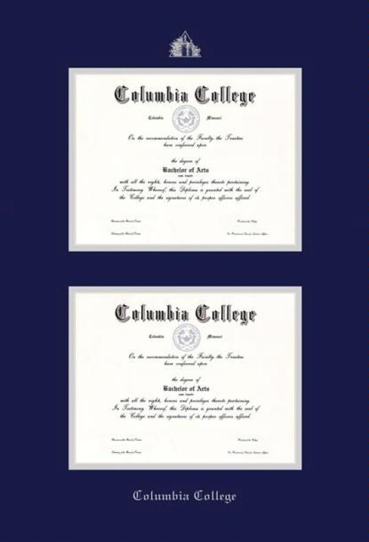 Custom diploma frames certificate frames framing success columbia college columbia mo double diploma pre 911 frame with navy blue and silver double mat and silver embossing yelopaper Choice Image