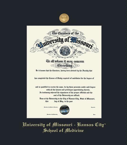 custom diploma frames certificate frames framing success umkc  university of missouri kansas city diploma medical frame medallion and black mat and gold embossing approximate frame size 21 x 24 inches