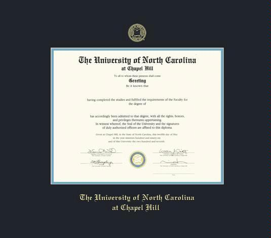 university of north carolina at chapel hill diploma frame with black and sky blue double mat and gold embossing approximate frame size 19 x 22 inches - Diploma Frame Size