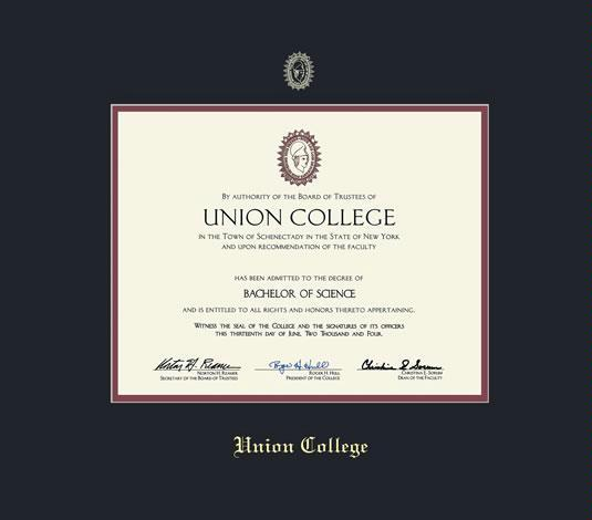 custom diploma frames certificate frames framing success  union college diploma pre 2016 frame black and maroon double mat and gold embossing approximate frame size 15 x 17 inches