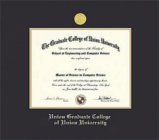Nice Union College Diploma   Graduate College (Pre 8/13) Frame With Medallion  And Black And Gold Double Mat And Gold Embossing