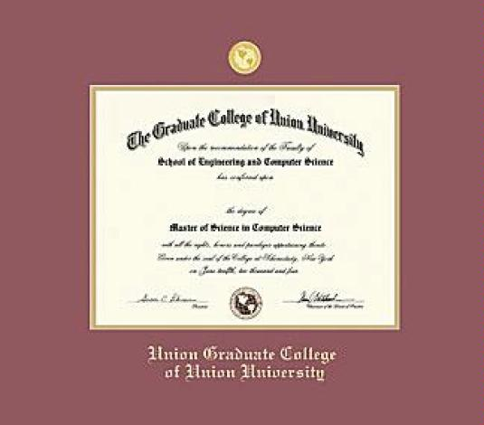 Exceptional Union College Diploma   Graduate (Pre 2016) Frame With Medallion And Maroon  And Gold Double Mat And Gold Embossing (Approximate Frame Size 19 X 22  Inches)