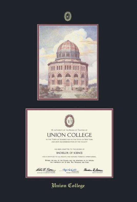 Union College Diploma (Pre 2016) And Litho (Litho Provided By School At  Graduation) Frame With Black And Maroon Double Mat And Gold Embossing