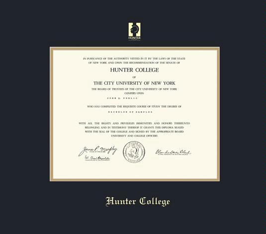 hunter college diploma frame with black and gold double mat and gold embossing approximate frame size 17 x 19 inches - Diploma Frame Size