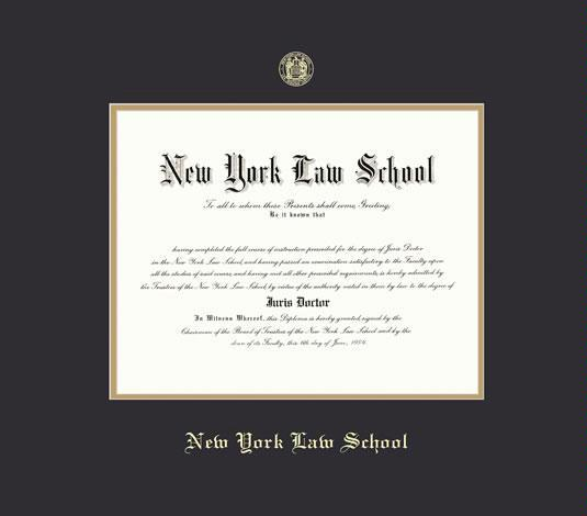 new york law school diploma law frame with black and gold double mat and gold embossing approximate frame size 19 x 22 inches