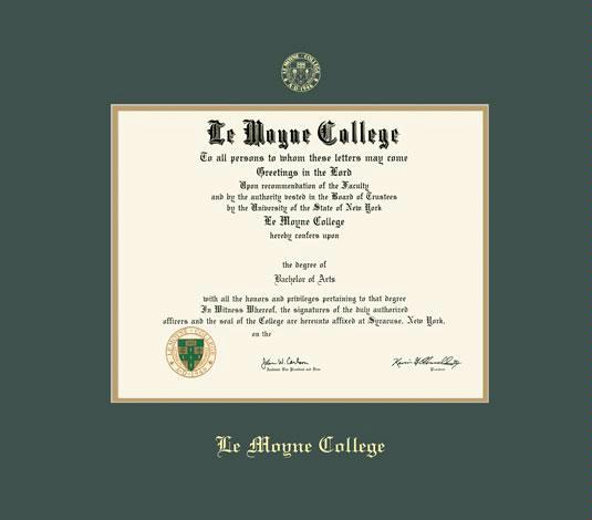 lemoyne college diploma frame with green and gold double mat and gold embossing approximate frame size 17 x 19 inches - Diploma Frame Size