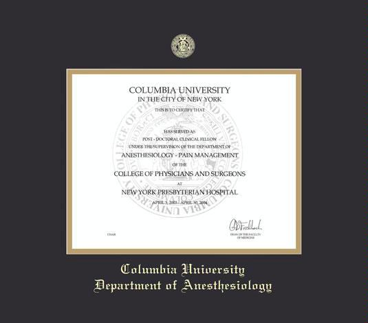 custom diploma frames certificate frames framing success  columbia presbyterian medical center certificate anesthesiology post doc clinical fellow frame black and gold double mat and gold embossing