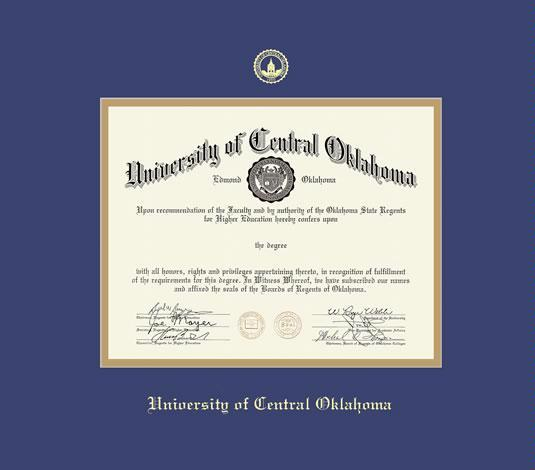 Custom Diploma Frames Certificate Frames Framing Success U Of Central Oklahoma Dip With Double Mat Mblue Gold