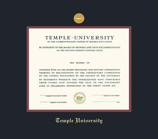 Custom Diploma Frames & Certificate Frames - Framing Success: Temple ...