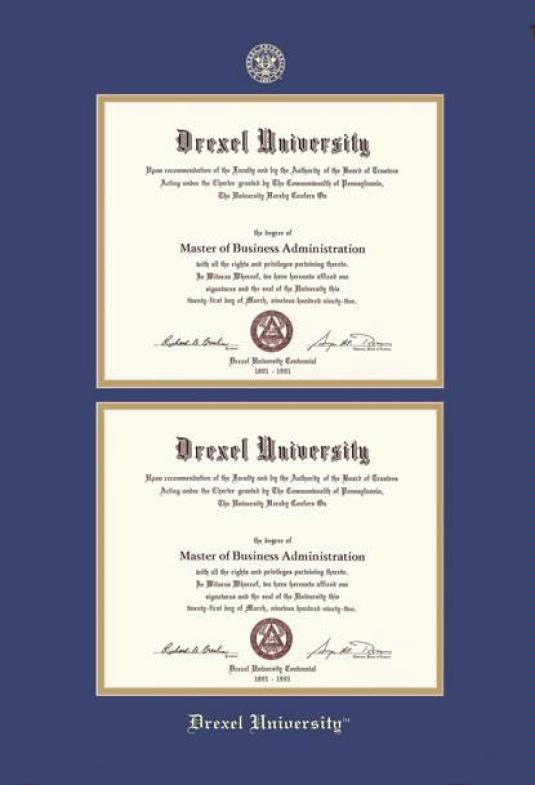 drexel university double diploma bama frame with royal blue and gold double mat and gold embossing approximate frame size 29 x 22 inches