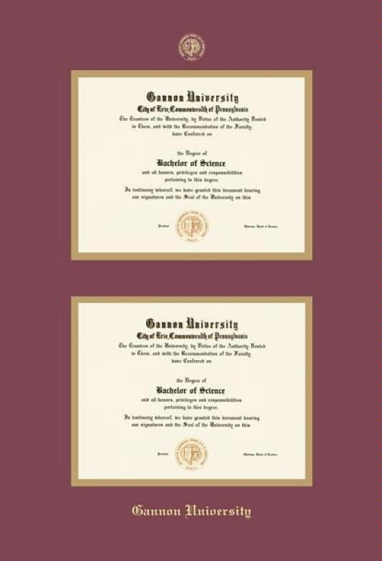 gannon university double diploma frame with maroon and gold double mat and gold embossing approximate frame size 27 x 19 inches