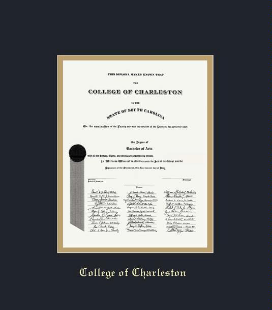 Custom Diploma Frames Certificate Frames Framing Success College Of Charleston Dip Joint Degree 5 08 To Present