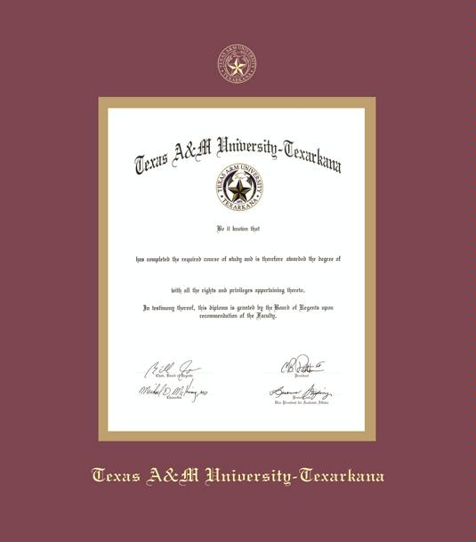 texas am university texarkana diploma frame with maroon and gold double mat and gold embossing approximate frame size 19 x 22 inches - Diploma Frame Size
