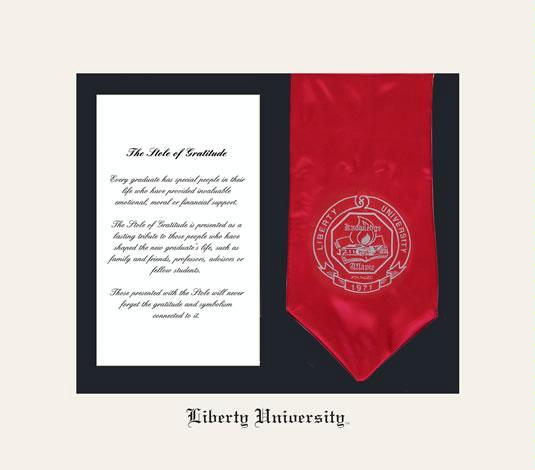 liberty university stole of gratitude frame with cream and black double mat and black embossing stole not included approximate frame size 15 x 17 inches
