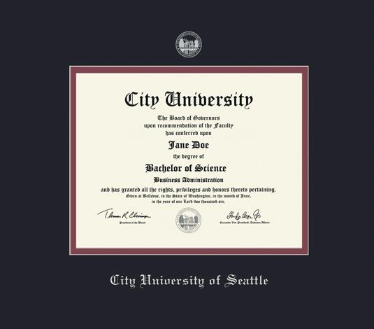 city university of seattle diploma 307 to present frame with black and maroon double mat and silver embossing approximate frame size 17 x 19 inches