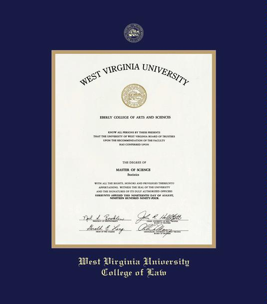west virginia university downtown campus college of law diploma frame with navy blue and gold double mat and gold embossing - Wvu Diploma Frame