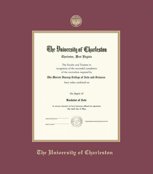 university of charleston diploma frame with maroon and gold double mat and gold embossing approximate frame size 19 x 22 inches - Wvu Diploma Frame