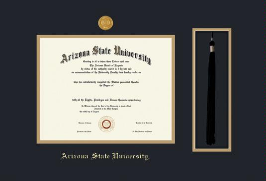custom diploma frames certificate frames framing success asu  arizona state university diploma doctoral medallion and tassel cut out frame featuring a black and gold double mat gold embossing