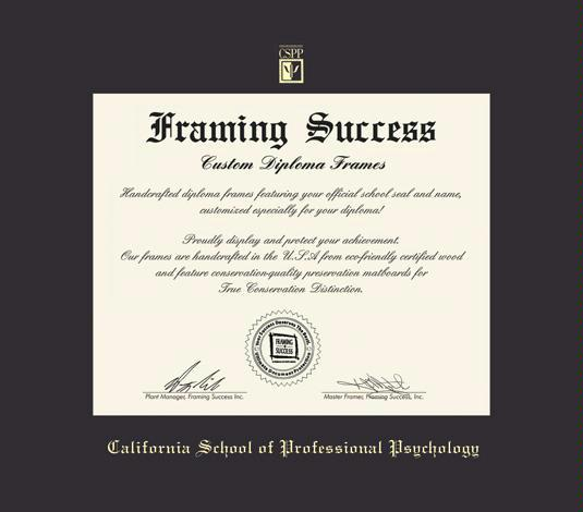 california school of professional psychology diploma masterphd frame with black mat and gold embossing approximate frame size 17 x 19 inches