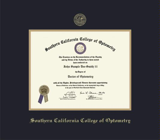 custom diploma frames certificate frames framing success  southern california college of optometry diploma doc of optometric endurance 3 11 to 3 16 frame black and gold double mat and gold embossing