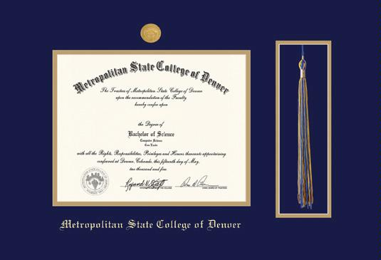 metropolitan state college of denver diploma frame pre 812 with medallion and tassel cut out and navy blue and gold double mat and gold embossing - Michigan State Diploma Frame