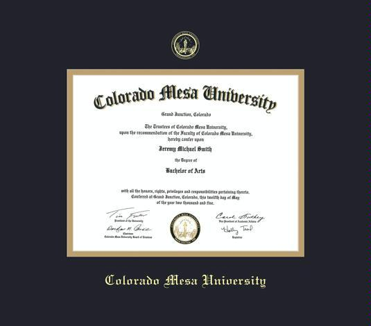 Custom Diploma Frames Certificate Frames Framing Success Colorado Mesa University Diploma Frame With Black Gold Mat