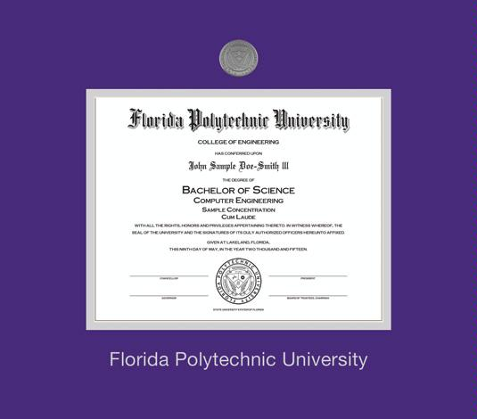 Custom diploma frames certificate frames framing success florida polytechnic university diploma ba frame with medallion and purple and silver double mat and silver embossing yelopaper Gallery