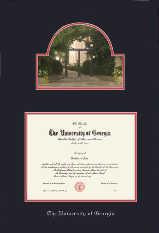 the university of georgia diploma and arch photo frame with black and red double mat and silver embossing approximate frame size 27 x 19 inches