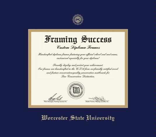 worcester state university diploma 1010 to present frame with navy blue and gold double mat and gold embossing approximate frame size 15 x 17 inches - Wvu Diploma Frame
