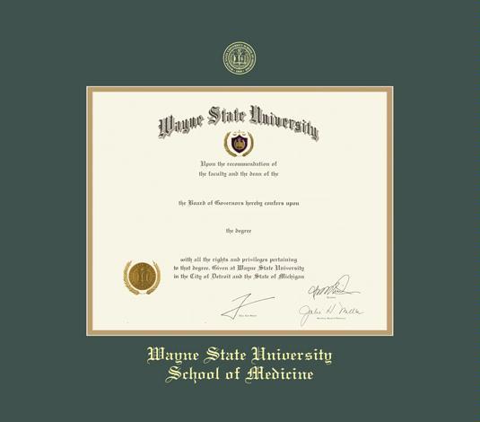 Custom Diploma Frames Certificate Frames Framing Success Wayne State U School Of Medicine 11 X 14 W Green Gold Mat